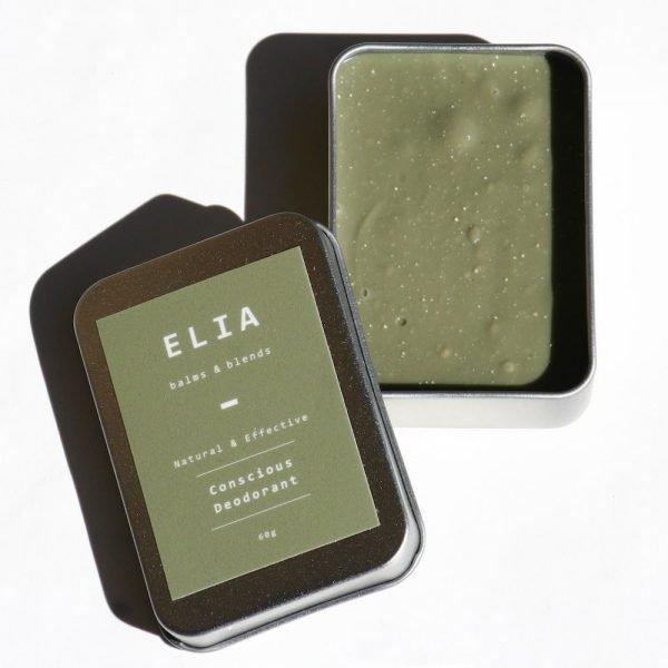 open tin showing ELIA bi-carb free deodorant