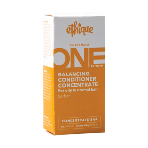 Ethique box, orange on bottom half, white on top half. Balancing conditioner concentrate